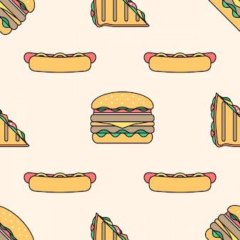 Nahtloses muster des hot dog club sandwich burger farbigen umrisses
