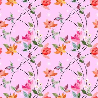 Nahtloses muster des illustrationsblumenvektordesigns.