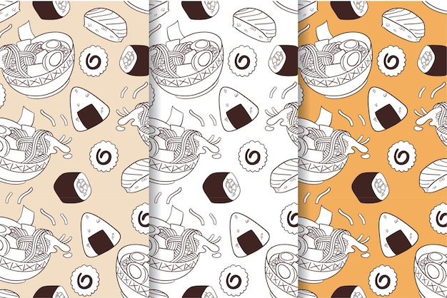 Nahtloses muster des japanischen essens zum drucken