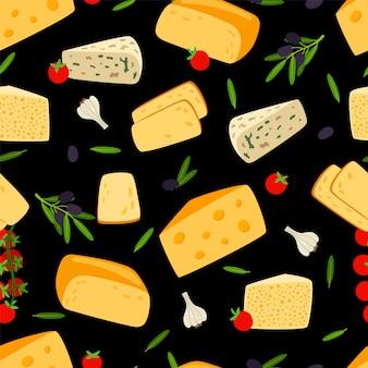 Nahtloses muster des käses