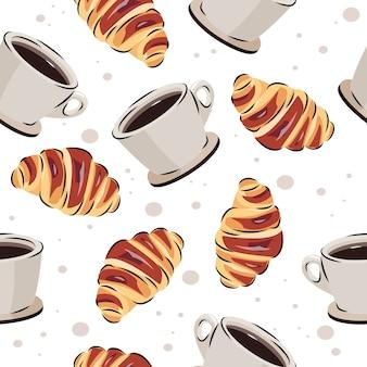 Nahtloses muster des kaffees und des hörnchens. vektorhintergrund für lebensmittel- oder cafédesign.