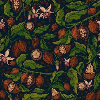 Nahtloses muster des kakaos musteraromenbohnenblume der grünen pflanze der tropischen frucht in der blüte