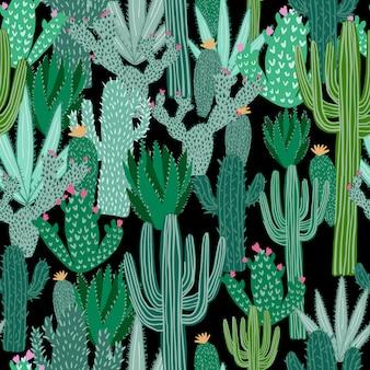Nahtloses muster des kaktus auf schwarzem hintergrund. grüne kakteen tapete.