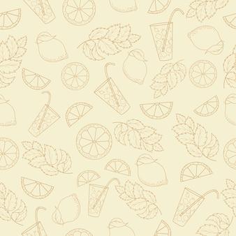 Nahtloses muster des kalten cocktails mit zitronen- und minzenblättern entwurfszeichnung
