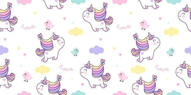Nahtloses muster des karikatureinhorns springen in niedliches pony kawaii tier des himmels