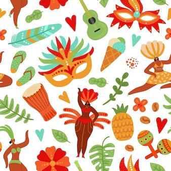 Nahtloses muster des karnevals. festliche leute, brasilianische festivalmädchen. brasilianische tänzer in bikini und federn. strandpartyvektorhintergrund. karnevalsparty, karnevalsfest brasilien musterillustration