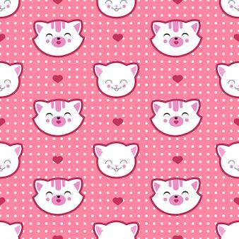 Nahtloses muster des katzen- und kätzchengesichtvektors. kind t-shirt design