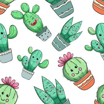 Nahtloses muster des kawaii kaktus mit nettem gesicht