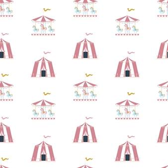 Nahtloses muster des kindergartenvektors mit zirkuszelt und karussell im skandinavischen stil.