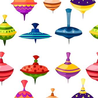 Nahtloses muster des kinderspielzeug-whirligigspinners mit unterschiedlichem form- und beschaffenheitsmustervektor