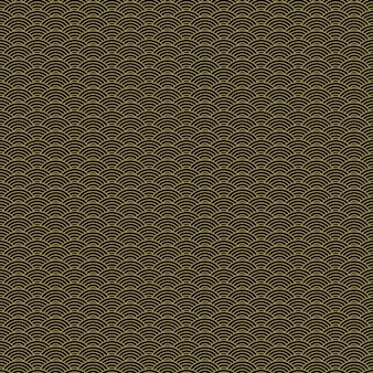 Nahtloses muster des klassischen asiatischen goldenen und schwarzen schuppens für textilindustrie, gewebedesign.