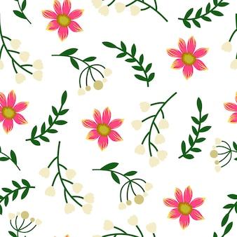 Nahtloses Muster des Knospenrosablumenblatt-Frühlinges
