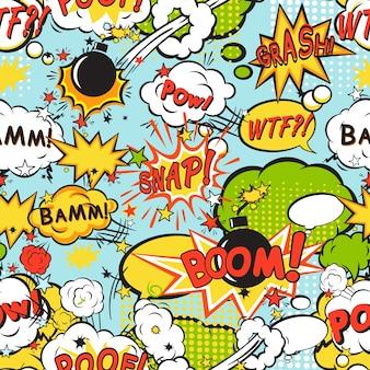 Nahtloses muster des komischen booms