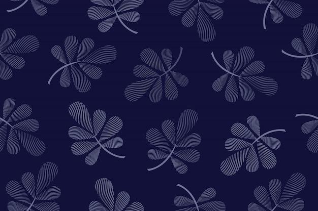 Nahtloses muster des kunstblumenvektors. blau geriffelte blätter an zweigen auf dunkelblau