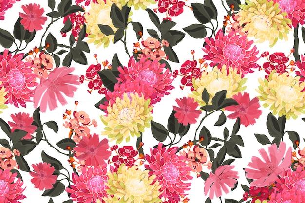 Nahtloses muster des kunstblumenvektors. frische gartenblumen mit niederlassungen und blättern