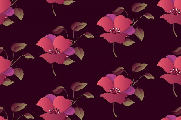 Nahtloses muster des kunstblumenvektors. glättung von purpurroten blumen mit laub auf tiefbraunem papier.