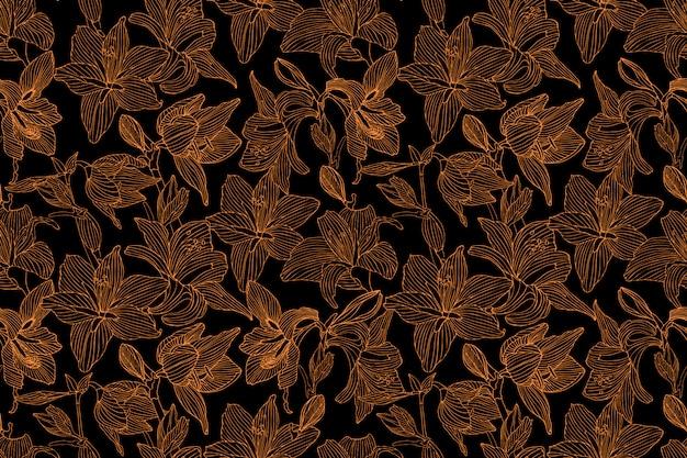 Nahtloses muster des kunstblumenvektors. goldene hippeastrum- und lilienblumen auf schwarzem