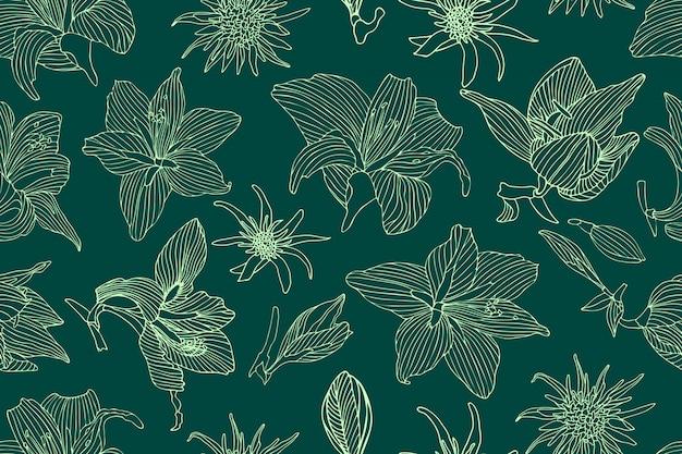 Nahtloses muster des kunstblumenvektors. helle hippeastrum- und tragopogonblumen auf grün