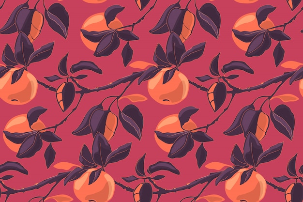 Nahtloses muster des kunstblumenvektors mit äpfeln. apple verzweigt sich mit blättern und reifen früchten. für heimtextilien, stoffe, tapeten, küchendekor, verpackungspapier.