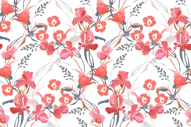 Nahtloses muster des kunstblumenvektors. rosa ipomoea, pfingstrose, irisblumen, graue und orange zweige, blätter lokalisiert auf weißem hintergrund. fliesenmuster für stoff, innentextil, karte.