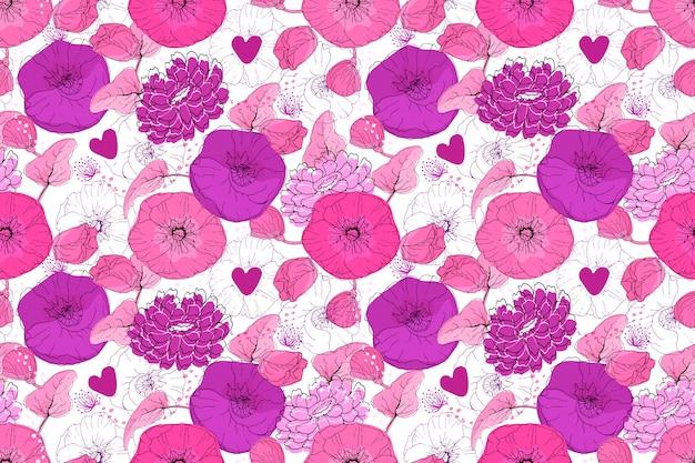Nahtloses muster des kunstblumenvektors. rosa und lila blüten mit kleinen lila herzen
