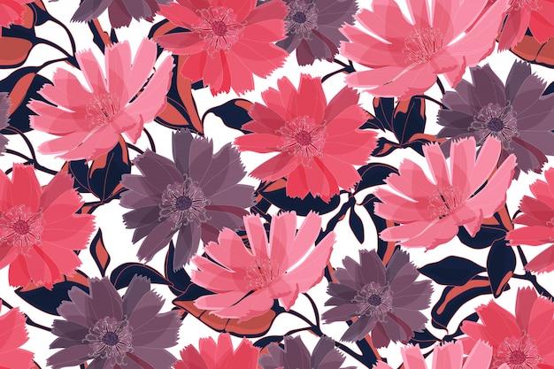 Nahtloses muster des kunstblumenvektors. rosa und purpurrote blumen mit niederlassungen, blätter