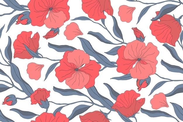 Nahtloses muster des kunstblumenvektors. rote blumen, knospen mit blauen zweigen, blättern und blütenblättern lokalisiert auf einem weißen hintergrund. für textilien, stoffe, tapeten, küchendekor, papier, accessoires.