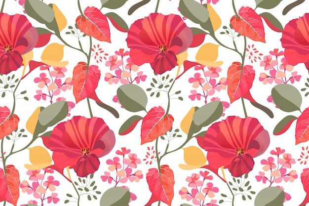Nahtloses muster des kunstblumenvektors. rote, kastanienbraune gartenmalvenblumen, rosa gillyflower, zweige mit den bunten blättern lokalisiert
