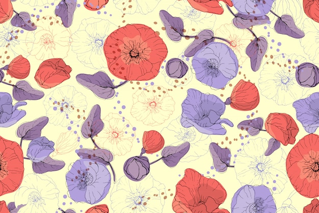 Nahtloses muster des kunstblumenvektors. rote und purpurrote malve und mohnblume