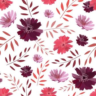 Nahtloses muster des kunstblumenvektors. sommer, herbstgartenblumen lokalisiert. rosafarbene, purpurfarbene, hellpurpurne chicorée-blüten, korallenrote zweige mit blättern.