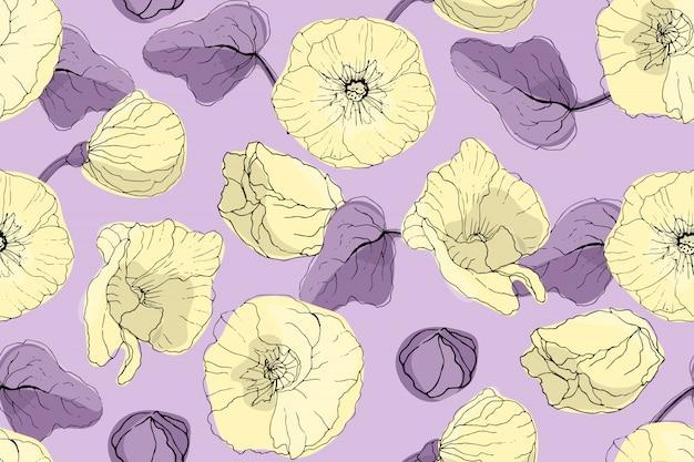 Nahtloses muster des kunstblumenvektors