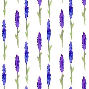 Nahtloses muster des lavendels im aquarell. muster für stoff-, papier- und andere druck- und webprojekte. aquarell hintergrund
