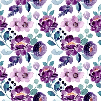 Nahtloses muster des lila blumenaquarells