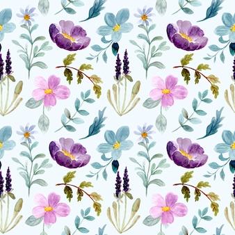 Nahtloses muster des lila grünen blumenaquarells