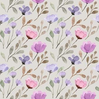 Nahtloses muster des lila wilden blumenaquarells