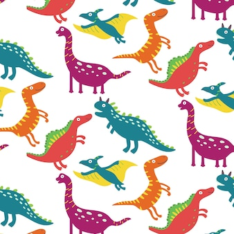 Nahtloses muster des lustigen dinosauriers