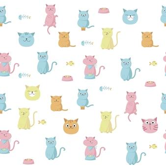 Nahtloses muster des lustigen katzenvektors. kreatives design mit dem lecken, katzen für gewebe essend, gewebe, tapete, packpapier.
