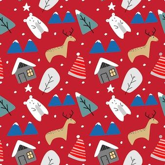 Nahtloses muster des lustigen tierrenwinters für weihnachten