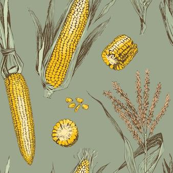 Nahtloses muster des maiskörnerweinlesedesigns.
