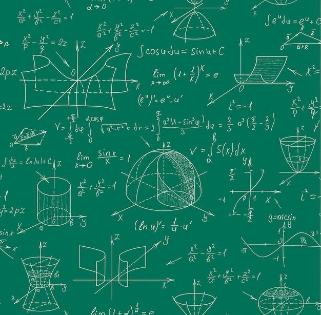 Nahtloses muster des mathematikwissenschaftvektors mit handgeschriebenen formeln auf einer grünen tafel für den hintergrund.