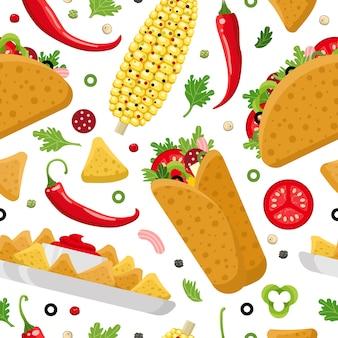 Nahtloses muster des mexikanischen essens. burrito, taco und nachos. bunter hintergrund, niedlicher stil.