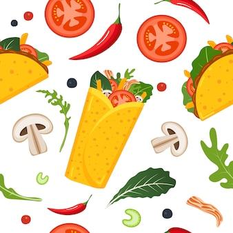 Nahtloses muster des mexikanischen essens.