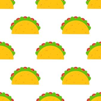 Nahtloses muster des mexikanischen festivaltaco-fastfoods