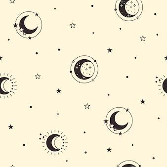 Nahtloses muster des mondes. himmlischer gelber hintergrund. schwarzer halbmond und sterne bedecken. luna-phase. vektor-illustration.