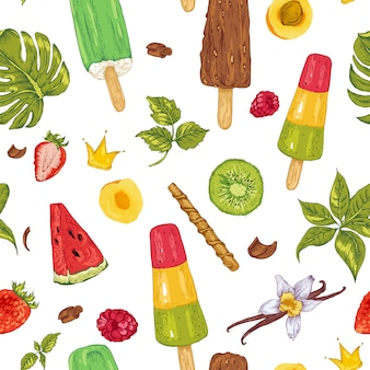 Nahtloses muster des natürlichen eco lebensmittels des sommers