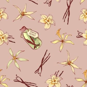 Nahtloses muster des natürlichen vanillegewürzs