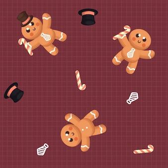 Nahtloses muster des netten ginger bread mit winter und dekoration