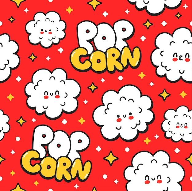 Nahtloses muster des netten glücklichen lustigen popcorns auf rotem hintergrund. vektor handgezeichnete cartoon kawaii charakter illustration aufkleber logo symbol. nahtloses musterkarikaturkonzept des netten glücklichen popcorns