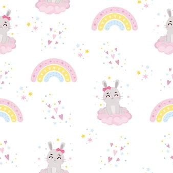 Nahtloses muster des netten häschens und des regenbogens kinderkindergartenillustration flaches vektorkarikaturdesign