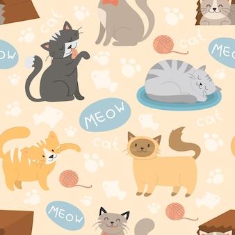 Nahtloses muster des netten haltungsvektors des katzencharakters unterschiedlichen